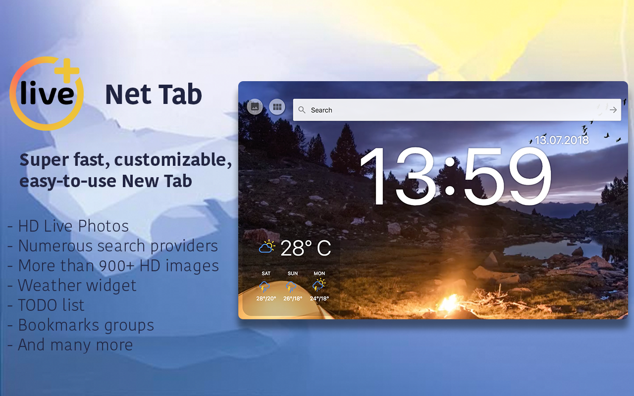 Live New Tab screen